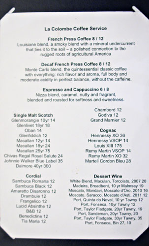 Gordon Ramsay Steak After Dinner Drink Menu