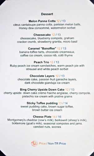 Gordon Ramsay Steak Dessert Menu