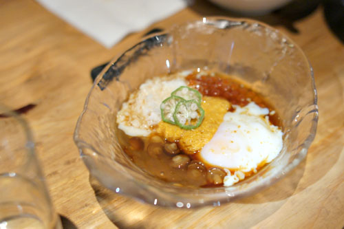Poached Egg with Sea Urchin and Salmon Roe