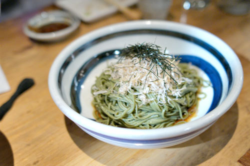 Cold Green Tea Soba with Poached Egg