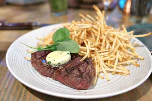 Flat Iron Steak, Haystack Fries
