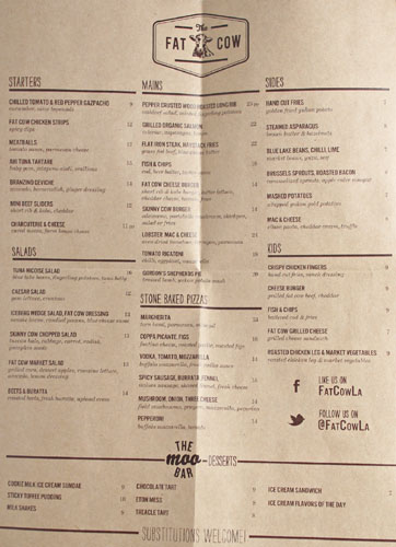 The Fat Cow Menu