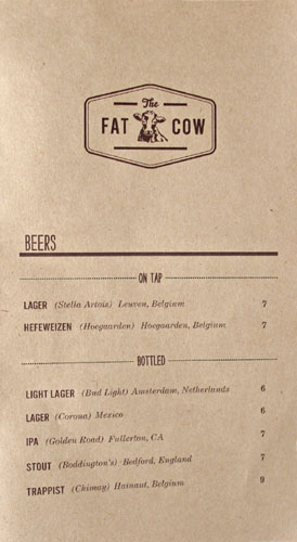 The Fat Cow Beer List