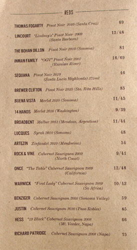 The Fat Cow Wine List