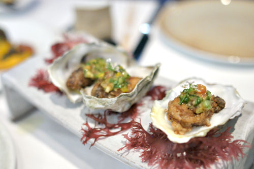 Sautéed Fanny Bay Oysters, Curry, Cucumber Relish