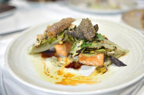 Wild King Salmon, Romesco Vinaigrette, Grilled Romaine Hearts, Anchovies