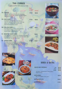 Renu Nakorn Menu: Thai Curries / Sides & Extra