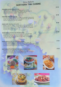 Renu Nakorn Menu: Northern Thai Cuisine