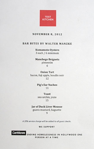 Test Kitchen (Walter Manzke) Bar Bites Menu