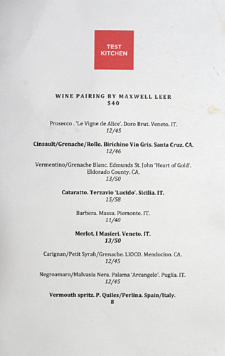 Test Kitchen (Walter Manzke) Wine List
