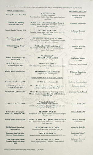 Gorge Menu