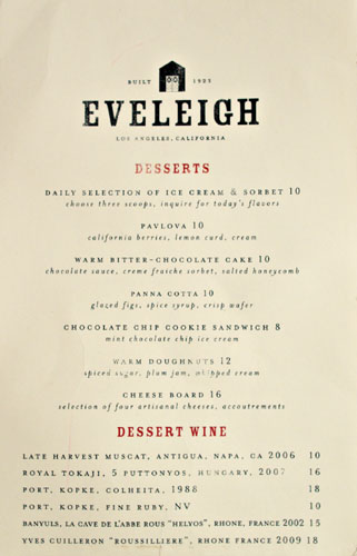 Eveleigh Dessert Menu