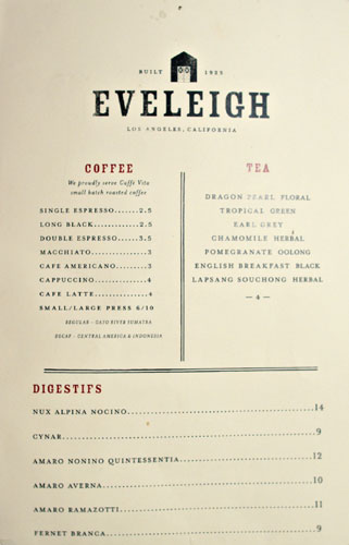 Eveleigh After Dinner Drink Menu
