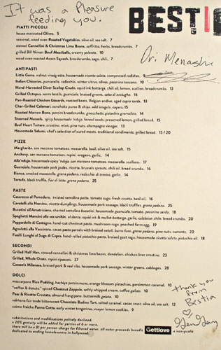 Bestia Menu