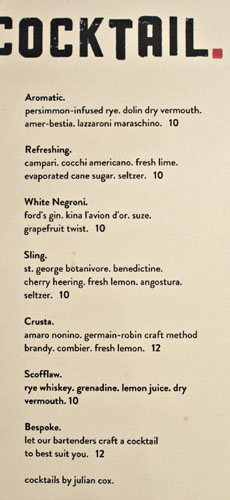 Bestia Cocktail List