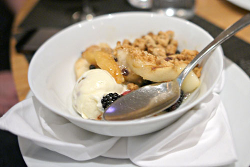 Pink Lady Apple & D'Anjoy Pear Toasted Pecan Crumble, Butter Pecan Ice Cream