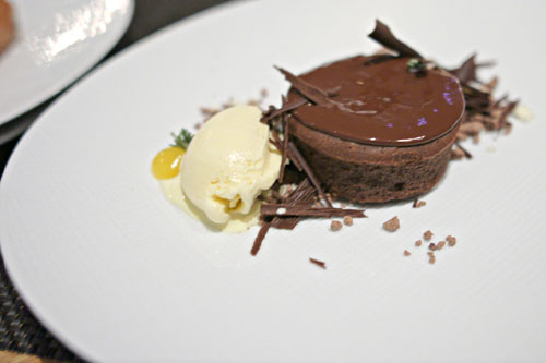 Dark Chocolate Pudding Cake, Cocoa Nib Streusel, Honey & Rosemary Ice Cream