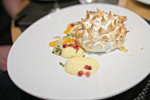 'Baked Alaska', Satsuma Mandarin Orange & Mascarpone Gelato, Sicilian Pistachios