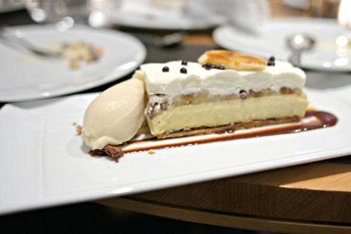 'Banana Cream Pie', Vanilla Bean Crème Brûlée, Caramel Sauce, Banana Sorbet