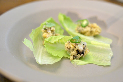 'oyster wrap': cilantro, serrano, lime