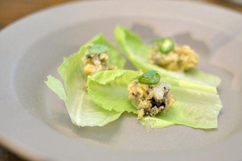 'oyster wrap': cilantro, serrano, lime