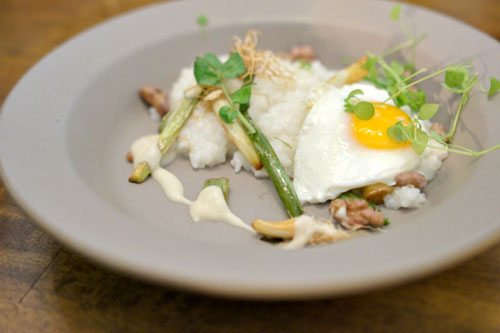 anson mills rice grits, onion, farm egg, pickled walnut