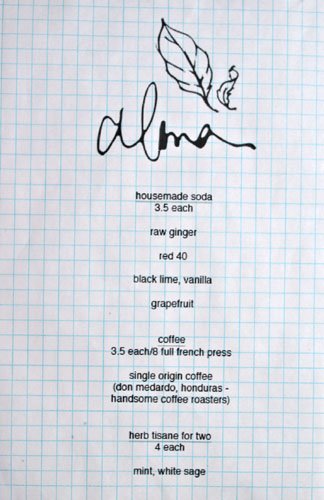Alma Drink Menu