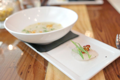 Raw Scallop, Chiles, Scallions, Sesame, Dried Scallop Congee
