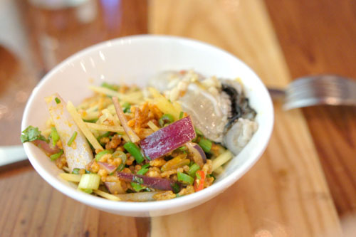 Nam Kao Tod / Crispy Rice Salad, Fermented Pork, Oysters, Raw Ginger, Onion, Bird Eye Chile, Peanuts by Kris