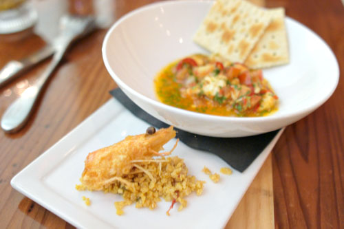 Prawn Ceviche, Peanut Sambal, Onion, Tomato, Crackers & Crispy Cereal Prawn Head