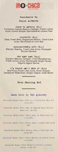Ceviche Nights Drink Menu