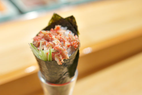 Spicy Blue Crab Temaki with Habanero Masago