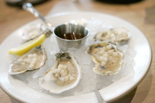 1/2 dozen oysters, pear mignonette
