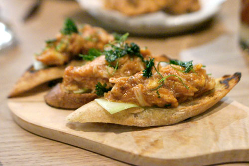 chili crab toast, spicy cucumber, coriander