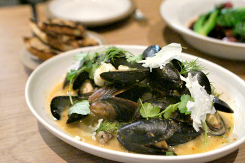coconut-curried mussels, sausage, cauliflower
