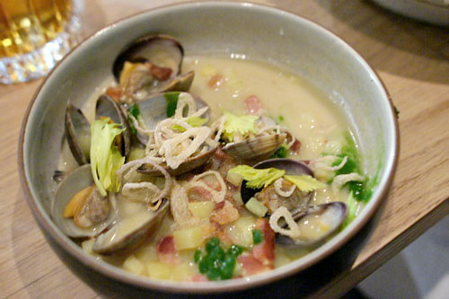clam chowder, celery leaf