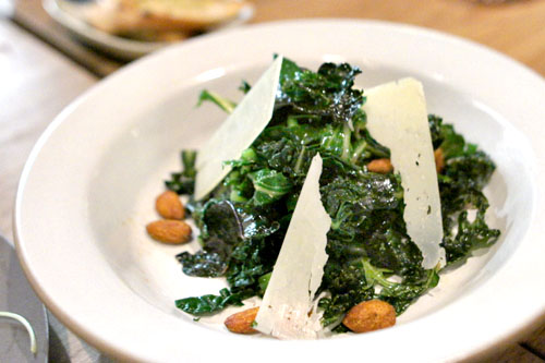 kale, crispy and raw, curried almonds, pecorino, red wine vinaigrette