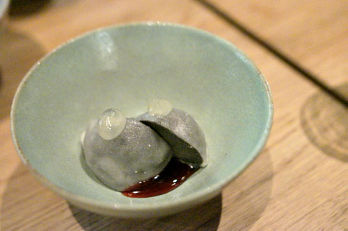 black sesame ice cream, lemon, hibiscus