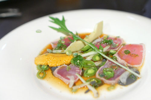 tuna - ponzu - squid ink tofu yuzukosho - mizuna - wasabi pea - snap pea - green onion - bok choy - sesame - uni