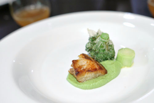 Broccoli, broccoli stalk, black cod, broccoli puree, lime