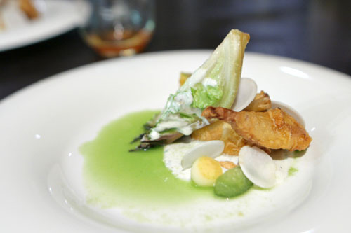 blue cheese buttermilk - quail - cucumber - peanut - green tomato - pink lady - turnip - cucumber juice - grilled baby gem