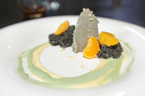 mandarin - green tea - clementine - black sesame cake - black sesame parfait - yuzu curd