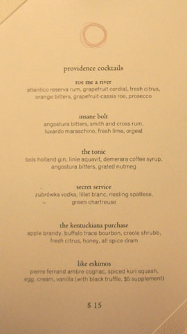 Providence Cocktail List