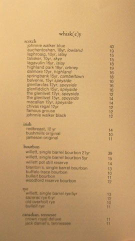Providence Whiskey List