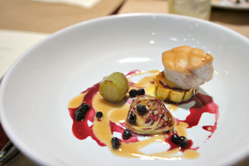 Herbed Sturgeon - Squashes - Poached Huckleberries - Artichokes Barigoule