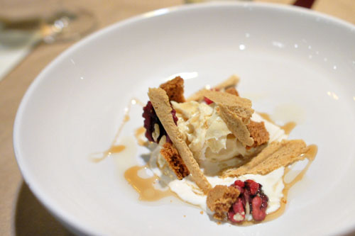 Cheesecake Mousse - Frozen Cookie Dough - Red Walnuts - Maple Syrup