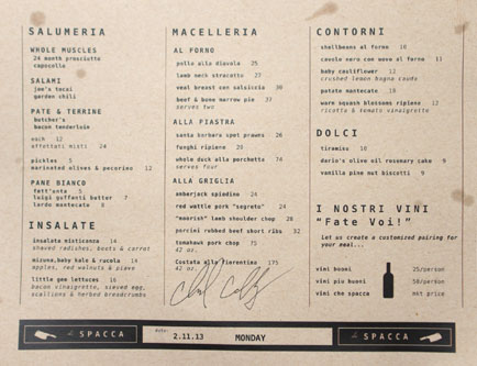 chi SPACCA Menu