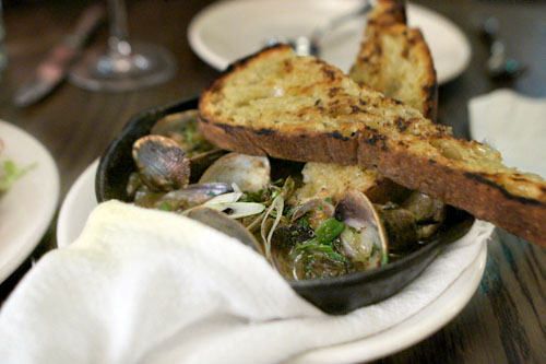 clams, sherry, green garlic & toast
