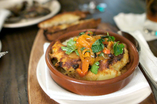 salt cod-potato gratin, sweet peppers & mahon