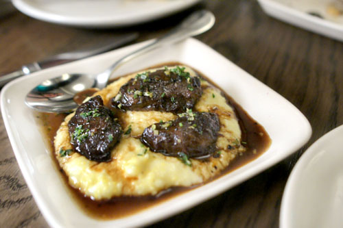 pork cheeks, polenta, mustard oil & gremolata